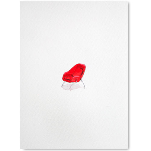 red womb chair painting